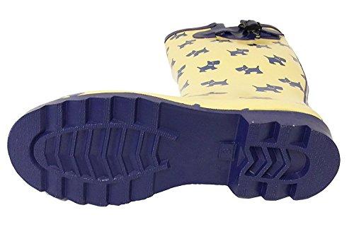 G4u Mujeres Rain Botas Estilos Múltiples Color Mid Calf Wellies Buckle Moda Rubber Knee High Snow Zapatos Amarillo / Cachorros
