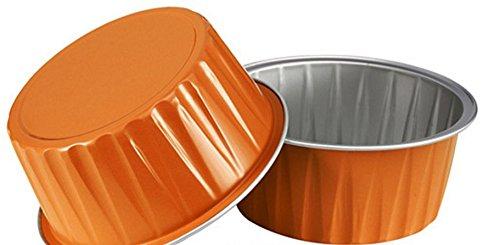 "KEISEN 3 2/5"" 125ml 100/PK 4OZ Disposable Aluminum Foil Cups for Muffin Cupcake Baking Bake Utility Ramekin Cup (orange)"