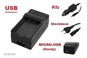 USB OXENDOX - batería - cargador (carga por teléfono (Micro - USB)/PC - portátil (USB)/coche - Coche/Corriente) para PANASONIC Lumix DMC-G3 - no polainas