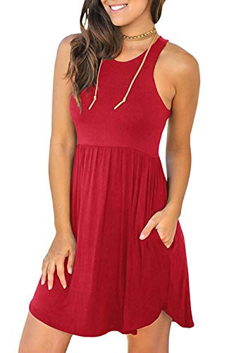 Sleeveless Shorts T-shirt - DRIBET Women's Sleeveless Loose Plain Dresses Casual Short T Shirt Dress Cover Up with Pockets (Red, XL)
