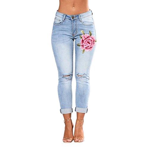 LUOEM Jeans Taille Haute Bleu Clair pour Femmes avec Fleur Brod- Taille L