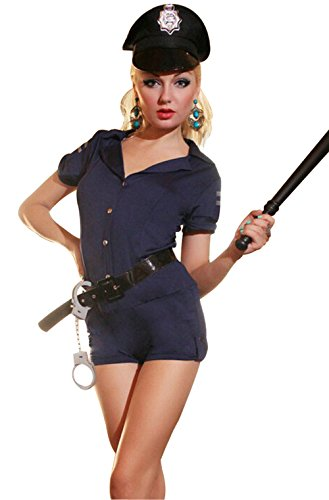 JJ-GOGO Sexy Cop Costume - Women Seductive Halloween Naughty Police Officer Outfit Policeman Costume Lingerie -