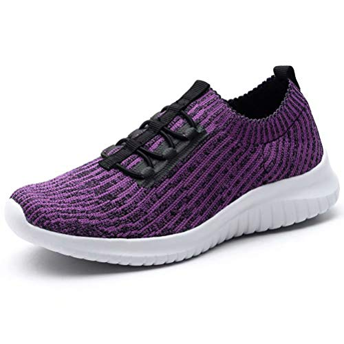 (LANCROP Women's Athletic Walking Shoes - Casual Mesh Lightweight Running Slip On Sneakers 9.5 M US Purple)