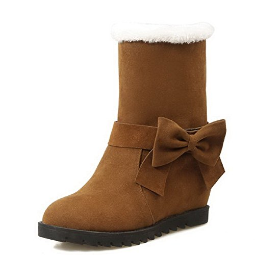 Low Boots AllhqFashion Low Solid Round Toe Heels Closed Brown top Frosted Womens FvwpFqTZ