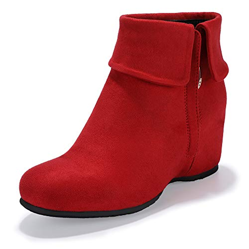 IDIFU Women's Candice-V Fold Over Round Toe Ankle Booties Hidden Medium Wedge Heel Side Zipper Faux Suede Short Boots (Red Suede, 7.5 M US) - Faux Suede Wedge Boot