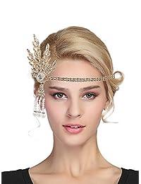 Urban CoCo Women's 1920s Gatsby Leaf Flapper Headband Wedding Party Pearl Headpiece