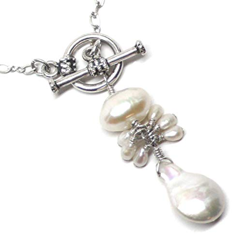 White Elongated Cultured Coin Pearl Cluster Drop Chain Necklace Sterling Silver