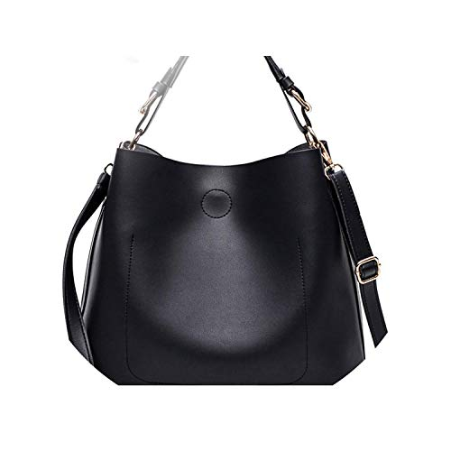 (Women Messenger Bags Handbags Set Hobo Bag Ladies Shoulder Tote Large Capacity Bucket Bags,Black,About 31cm 14cm 29cm)