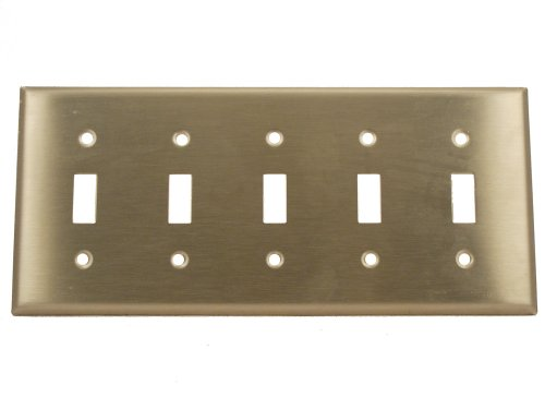 - Leviton 84023-40 5-Gang Toggle Device Switch Wallplate, Standard Size, Device Mount, Stainless Steel