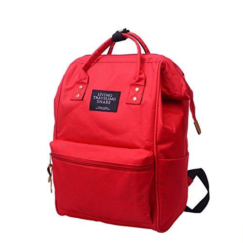 Zipper School Solid Red Bag Bag Backpack Bag Travel Fashion Bag School Black Unisex Double Shoulder StWPdq6qw