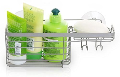 BINO Suction Nickel Shower Caddy, Combo Basket (Basket Combo Corner)