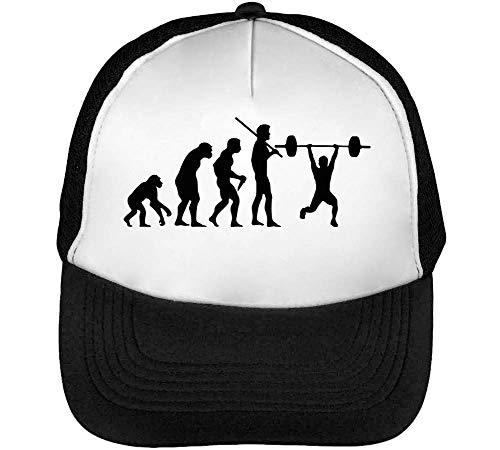 Human Weightlifting Hombre Gorras Snapback Evolution Beisbol Negro Blanco wwrFqSRW5