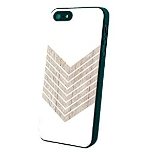 White Geometric Minimalist with Wood Grain Custom Case for Iphone 5/5s Black