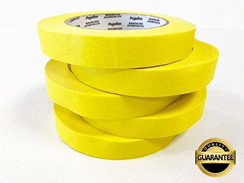 PEGAFAN AUTOMOTIVE PERFORMANCE VALUE PACK (5 ROLLS) Refinish YELLOW Masking Tape 3/4'' x 55yd. 200 F Performance Temperature, 28 lbsin Tensile Strength. #1 Voted in specialized painting Workshops. by PEGAFAN (Image #2)