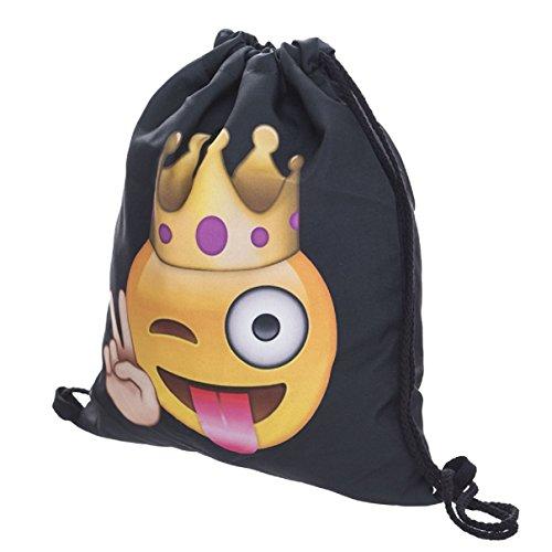 Sportbeutel Rucksack Gymsack Stringbag Hipster Sack Umhängetasche (poop happens) EMOJI KING BLACK HZJRny