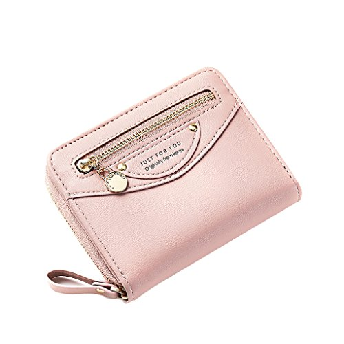 Women Compact Bifold Leather Pocket Wallet Ladies Mini Purse Coin Pouch Small Zipper Pocket Card Holder Flap Greypink (Classic Mini Satchel)