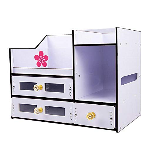 Tong Hao Cosmetic Storage Boxes with Drawers,Acrylic and PVC Jewelry Cosmetic Display Cases Makeup Organizer Set Black Border