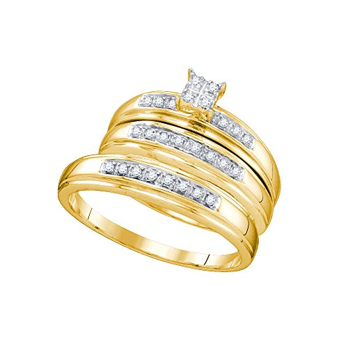 10kt Yellow Gold His & Hers Round Diamond Cluster Matching Bridal Wedding Ring Band Set 1/5 Cttw by JawaFashion
