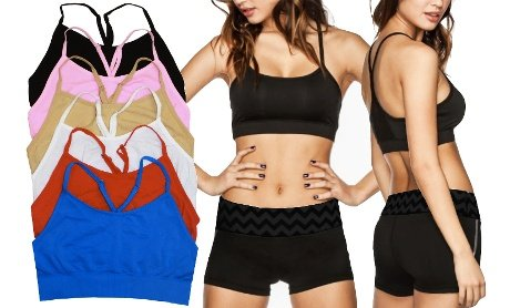Price comparison product image 6-Pack: Wireless Y-Back Bralettes W / Adjustable Straps - One Size