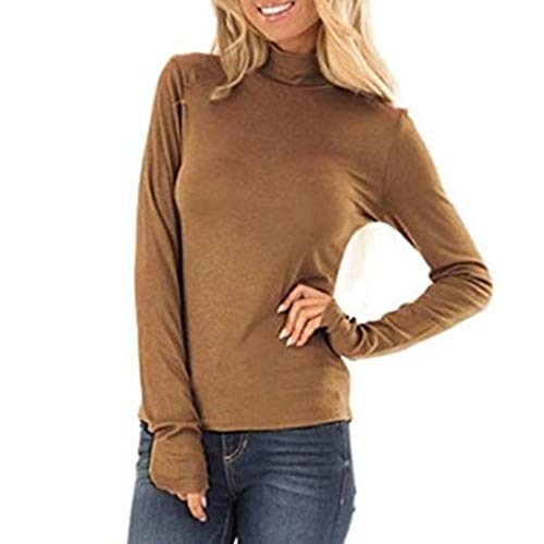 Exteren Women Turtleneck Sweatshirt Solid Color Slim Long Sleeve Top Blouse Shirts