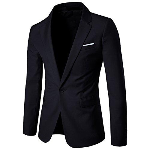 Washable Suit Jacket - Men's Suit Jacket One Button Slim Fit Sport Coat Business Daily Blazer (XX-Large, Black)