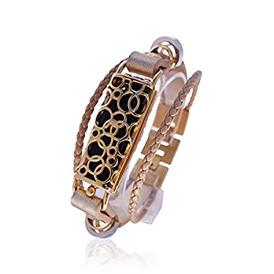 FitBit flex Jewelry - Fitbit Bracelet Soma 2- stainless steel - rhodium plated- real leather - Fitbit Flex replacement band - available colors Gold, Rose gold, Black and Silver