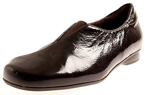 Theresia M. Damenschuhe Slipper Leder Schuhe Einlagen Lackleder 55402 Mocca
