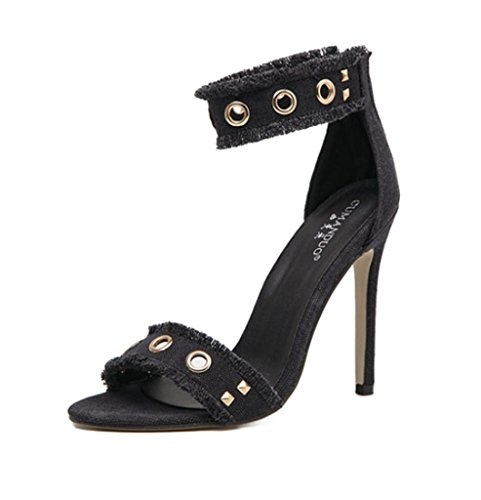 Women High Shoes Shoes Nightclub Fine Heels Banquet Sandals Sandals yu Quality with High Lh Rivet Sexy 35 Tip 54Baf6x