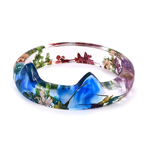 DALARAN Press Dried Flower Resin Ring Cat Ears Charm Rings for Women Transparent Ring Band Size 6 -