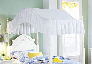 Full Size Solid White Ruffled Canopy Top