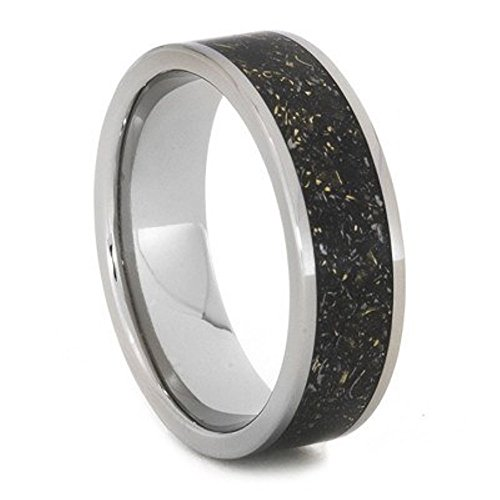 Black Meteorite Ring with 14k Yellow Gold Flecks 7mm Comfort-Fit Titanium Band, Size 4 by The Men's Jewelry Store (Unisex Jewelry)