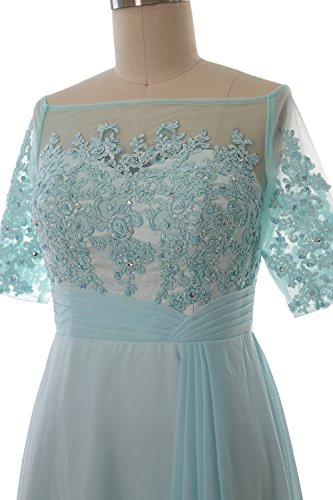 Lace Mother Macloth Off Shoulder Dress Evening Of Sleeve Teal Women Gown Half Bride ukZXOPi