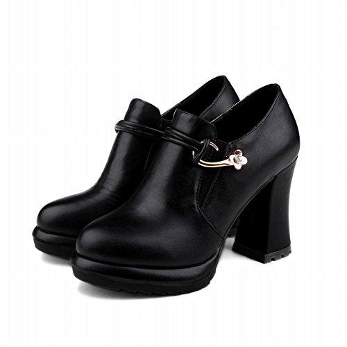 Carolbar Womens Plattform Mode Datum Zip Chunky Hög Klack Boots Svart