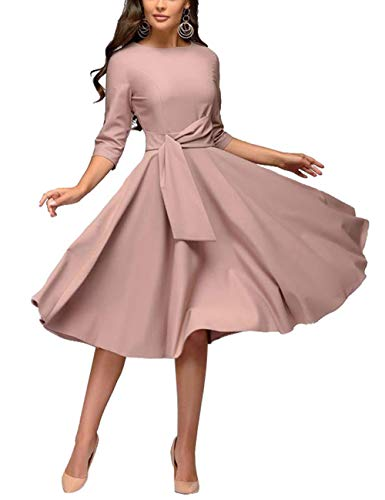 Womens Elegance Pleated Audrey Hepburn Style Round Neck 3/4 Sleeve Swing Midi Dress with Belt Lavender Size - Sleeve Swing Puff