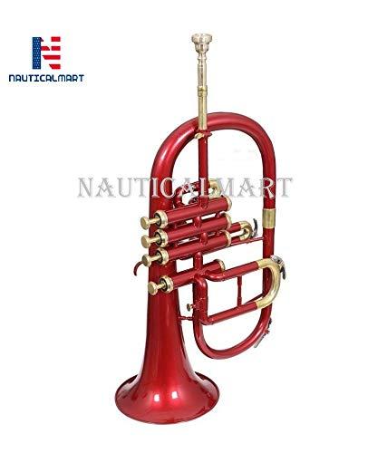 Bb Flat 4 Valve Red Flugel Horn + Free Hard Case + Mouthipice