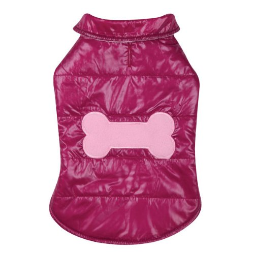 Casual Canine Polyester Snow Puff Dog Vest, Large, 20-Inch, Deep Raspberry