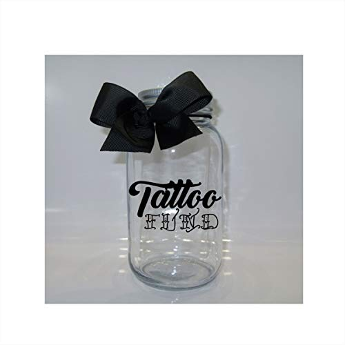 Fund Jar - Tattoo Fund Mason Jar Bank - Coin Slot Lid - Available in 3 Sizes