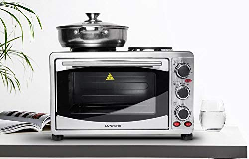 Laptronix Mini Oven With Hob and Grill 1500W 23L Electric Oven with Double Hotplate 600W & 800W Table Top Cooker with 3 Preset Functions Stainless Steel For Baking Cooking Grilling Roast