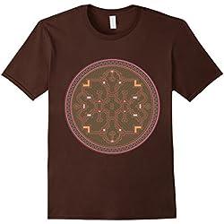 Mens Trippy Psychedelic Shipibo Tribal Design Large Brown