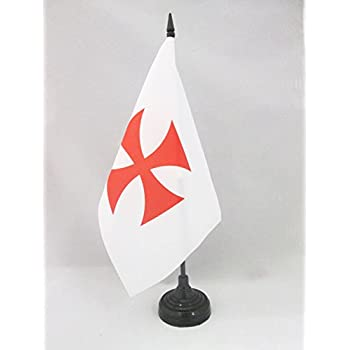 AZ FLAG Order of the Holy Sepulchre of Jerusalem Table Flag 5 x 8 Black plastic stick and base Catholic Desk Flag 21 x 14 cm