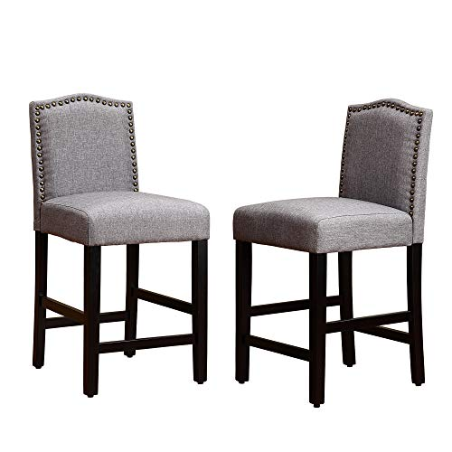 (LSSPAID 24 inch Fabric Backed Bar Stools (Set of 2),Gray )