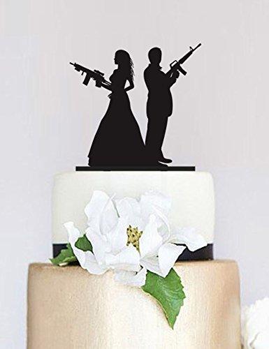 (Gun Wedding Topper,Armed Couple silhouette cake topper,Wedding Cake Topper,Custom Cake Topper,Personalized Cake Topper P108)