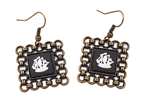 Earrings Cameo Wedgwood (Wedgwood: Brass & Black Jasperware Earrings