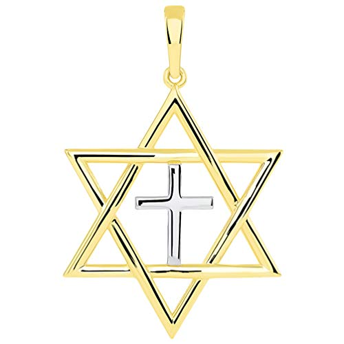 14k Yellow Gold Jewish Star of David with Religious Cross Judeo Christian Pendant (Large)
