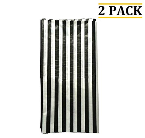 OOCC 2 Pcs Disposable Table Cover Striped Plastic Tablecloth Thickened Rectangle Tablecover for Kitchen Picnic Wedding Birthday Party Baby Shower Catering Events, 54
