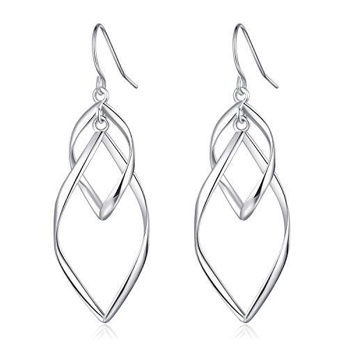 Silver Earrings Dangle Drop Double Loops Wave For Women