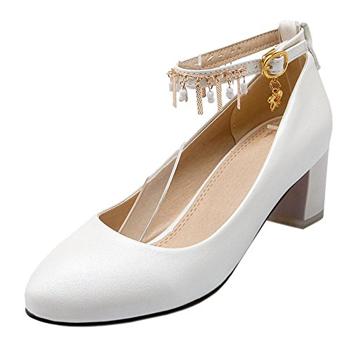 TAOFFEN Women's Ankle Strap Court Shoes White