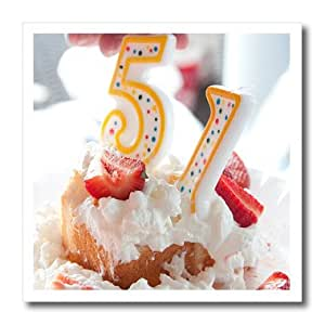 ht_52575_1 Jos Fauxtographee Holiday - The Number 51 on Top of a Strawberry Shortcake to Celebrate a Birthday - Iron on Heat Transfers - 8x8 Iron on Heat Transfer for White Material