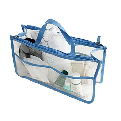 HOYOFO Clear Handbag Organizers Travel Makeup Toiletry Storage Bag Purse Insert, Blue