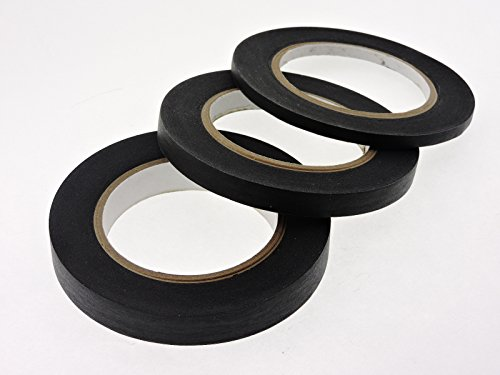 yd Multi Size Pack Black Painters Tape PROFESSIONAL Grade Fine Masking Edge Pin Stripping Trim Multi Surface Easy Removal (.25 .5 .75 in) ()